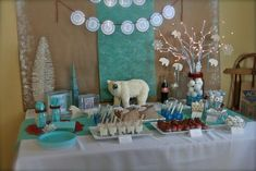 polar express birthday party ideas - turquoise and red
