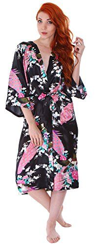 Simplicity Women's Classic Satin Peacock Floral Print Kimono Style Robe w/ Pockets - http://www.darrenblogs.com/2017/03/simplicity-womens-classic-satin-peacock-floral-print-kimono-style-robe-w-pockets/