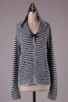 Long sleeves striped zip up cozy hood with pockets