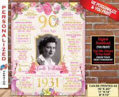90th Birthday Poster, 1931 Birthday Party Decoration, 90th Birthday Board | 90th Gift Sign- Back in Year 1931 Digital Personalized File 90th Birthday Parties, Great Birthday Gifts, Birthday Fun, Birthday Party Decorations, Birthday Signs, Birthday Ideas, Gold Birthday, Birthday Crafts, Birthday Board