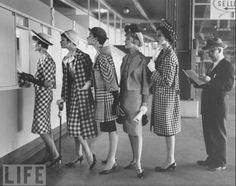 """one of my favorite pictures of all time: """"A marvelous mélange, checks of all sizes are chic, eye catching and elegant. Four fashionable models bettering at a racecourse."""" Roosevelt Raceway,circa. 1958.  quote by: Elizabeth Walker, Style Book:Fashionable inspirations."""