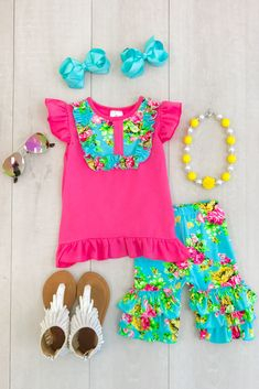 The Bella Neon Brights Floral Short Set Cute Toddler Girl Clothes, Disney Baby Clothes, Toddler Girl Outfits, Baby & Toddler Clothing, Baby Disney, Babies Clothes, Cute Toddlers, Cute Kids, Baby Girl Fashion