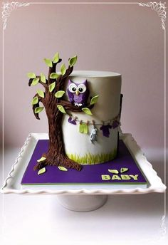 Owl Baby Shower - Cake by Dream Cakes by Robyn