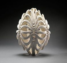 From start to finish, all thrown by hand, and altered and carved, one at a time, by Jennifer McCurdy. (Doesn't the first one remind you of the Olympic Flame? Kinda? :) ) Jennifer McCurdy Wheel Thrown Porcelain.