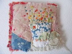hand embroidered flowers with a little lace by hensteeth Textile Jewelry, Fabric Jewelry, Textile Art, Fabric Art, Fabric Crafts, Felt Wallet, Fabric Journals, Patchwork Patterns, Brooches Handmade