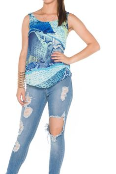 Snake skin tank blouse. Looks great with jeans or shorts and jacket if needed. Pair this with a metallic handbag and shoes.   Snake Tank by Bella. Clothing - Tops - Tees & Tanks Florida