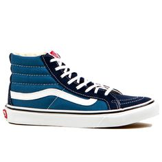 The Vans Classics SK8-HI Slim Women's shoes are the slimmed down version of the original SK8-HI lace-up. They have a durable canvas upper, a supportive and padded ankle as well as the classic Vans vul