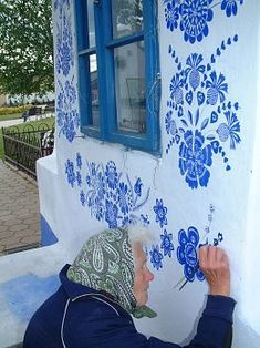 Grandmother Agnes Kašpárková delicately paints traditional Moravian ornament on an early century belltower Graffiti, Street Art, Urban Art, Belle Photo, Fresco, Artsy, Illustrations, Wall Art, World
