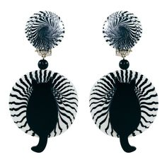 Pavone (France) Signed Galalith Hand-Painted Cat Earrings - Black Swirl (Clip-on)