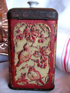 Vintage Embossed Tin Canister with Porcelain by ADoseOfAlchemy
