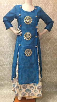 Women's raw silk linen layered long traditional Indian style kurti with beautiful prints and contrast Gota border in the bottom. Salwar Pattern, Kurti Patterns, Dress Patterns, Salwar Designs, Kurta Designs Women, Blouse Designs, Stylish Dresses For Girls, Indian Designer Wear, Indian Wear