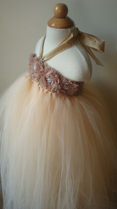 Tutu Flower girl dress champagne , roses, baby tutu dress, toddler tutu dress,newborn-24, 2t,2t,4t,5t, birthday. $74.00, via Etsy.