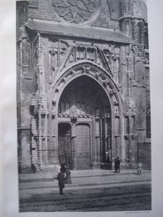 Doorway of Notre Dame du Sablon , Brussels, Belgium, EUR Unknown, architect(s). From the American Architect and Building News, May 7, 1892. 9 by 13 inches. VG+ condition with browning around the edges