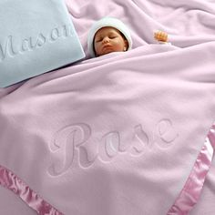 Custom Catch Large Personalized Baby Blanket (Pink) - Inch, Satin Trim, Fleece - Compare and Shop The Best Stuff Newborn Baby Gifts, Baby Girl Gifts, New Baby Gifts, Best Baby Blankets, Fleece Baby Blankets, Bed Blankets, Personalized Baby Blankets, Personalized Baby Gifts, Embroidered Baby Blankets