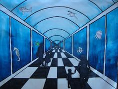 """1 pt. perspective of aquarium from """"once upon an art room"""" blog—I think I like this idea better than the hallway lesson I do!"""