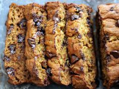 This healthy pumpkin bread is phenomenal! Made extra moist with zucchini and a touch of indulgence from chocolate chips. Everyone loves this bread!