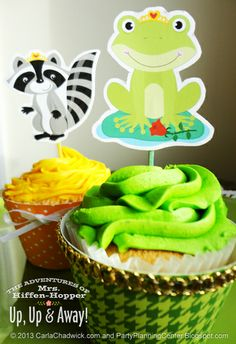 Party Planning Center: Free Printable Frog and Princess Cupcake Toppers - For Barbara's Birthday
