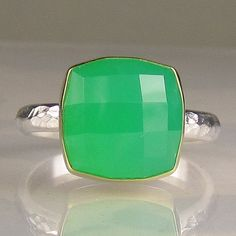 """$155.00 Checkerboard rose cut chrysoprase ring. I want this because it reminds me of """"Return to Oz."""""""