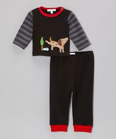 Love this Little Dreamers by Victoria Kids Black Stripe Naughty Dog Tee & Pants - Infant & Toddler by Little Dreamers by Victoria Kids on #zulily! #zulilyfinds