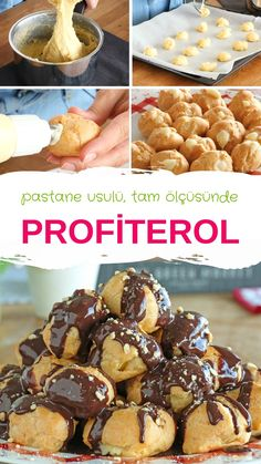 Profiterol Recipe with full consistency measure always GUARANTEED RESULT :) the to Source by hosepyayla Profiteroles Recipe, Game Night Food, Pasta Cake, Dessert Recipes, Delicious Desserts, Good Food, Yummy Food, Homemade Candies, Happy Foods