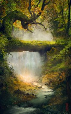 Shire Stream by TavenerScholar - Landscape Fantasy Art Landscapes, Fantasy Landscape, Fantasy Artwork, Landscape Art, Beautiful Landscapes, Landscape Paintings, Landscape Photos, Fantasy Places, Fantasy World