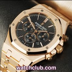 AUDEMARS PIGUET Royal Oak 41mm - 'AP Warranty' REF: 26320OR.OO.1220OR.01 | Year May 2014 Brand New - This latest model 41mm Royal Oak in solid 18ct rose gold sports a jet black mega tappisserie dial with rose gold applied hour markers and hands. Powered by AP's superb in-house automatic chronograph movement (cal.2385) and water resistant to 50m. Originally retailed by Harrods - for sale at Watch Club, 28 Old Bond Street, Mayfair, London