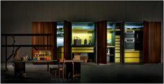 Hideaway kitchen without handles Collection by Rossana Kitchen Without Handles, Kitchen Dinning Room, Attic Loft, Compact Kitchen, Home Organisation, Cuisines Design, Luxury Kitchens, Wood Veneer, Kitchen Storage