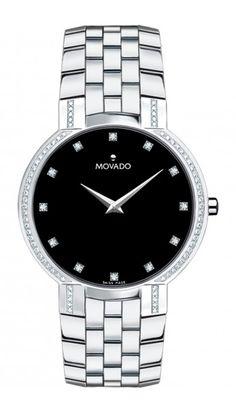 Movado - Faceto mens watch with diamonds