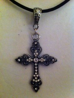 Ornate Rhinestone Cross Necklace by ChellesUniqueDesigns on Etsy, $15.00