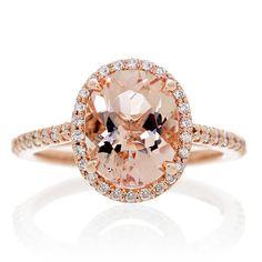14 Karat Rose Gold Oval Cut 10x8 Morganite Diamond Halo Stacking Gemstone Engagement Ring on Etsy, $995.00