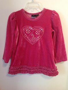 Authentic Baby Phat 3T Pink Velvet Girls Tunic Shirt Heart Dress