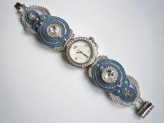Wristwatch with handmade soutache and beadwork por AllushkaSoutache, $110.00