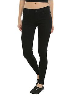 """<p>New and improved black skinny jeans from Blackheart! These babies feature an updated fabrication with more stretch and better recovery to help maintain their shape. With a low rise, fittedbody and leg and super stretch, these will quickly become a staple in your wardrobe! Five-pocket detail, button and zip fly.</p>  <p>Online only!</p>  <ul> <li>53% cotton; 31% polyester; 15% lyocell; 1% spandex</li> <li>Wash cold; dry low</li> <li>28"""" inseam</li> <li>10 1/2"""" leg..."""