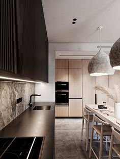 Modern apartment with ethnic and natural elements. Residential Complex, Residential Architecture, Condo Kitchen, Design Moderne, Luxury Apartments, Interior Design Kitchen, New Homes, House Design, Behance