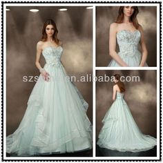 Source YWD10546 Very beautiful Strapless Sweetheart A-line Floor length champel train pleated and beaded tulle lime green wedding dress on m.alibaba.com