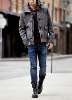 Grey coat, denim jeans
