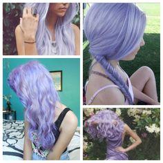 Lavender hair, lilac hair, purple hair.