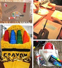 art birthday, art parti, birthday parties, art party for kids, paint parti, artist parti, crayon pinata, parti idea, birthday ideas