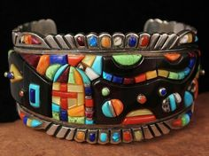 Vintage Dead Pawn Navajo Sterling Multi Colored Cobblestone Raised Inlay Signed