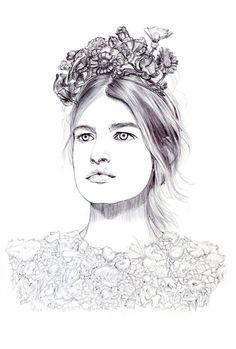 Fashion illustration of a model in Giambattista Valli; pretty fashion drawing // Lidia Luna