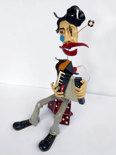 Polymer Clay Sculpture The Poet OOAK by trampsandglams on Etsy