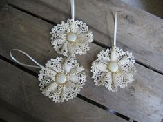 Cream Cluny Lace and Gold Button Christmas Ornaments Set of Three Holiday Tree Cream Lace Ornaments via Etsy