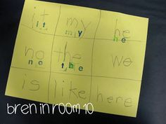 "Time Saving/No Prep/ Student-made BINGO boards  Demonstrate how to make 2 lines down and 2 across, all the way to the edges.  It doesn't really matter if the lines aren't perfectly.  Just have them count their spaces to make sure they have nine.  They choose their words to write in the nine spaces referring to your word wall.  We play blackout Bingo until one student ""wins"".  The prize is the privilege of reading all of their words to the class!  Do it with letters, sounds, CVC words numbers."