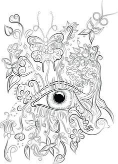 40 adult colouring pages to download, print and color- Digital download of ChanDraws Mind Escape Adult Coloring Book- Intricate drawing of an eye, butterflies and flowers on Etsy