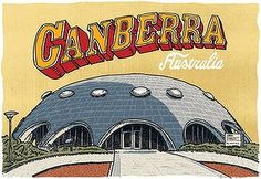 """The Australian Academy of Science's Shine dome, commonly known as the """"Martian Embassy"""" Illustration: Trevor Dickinson Academy Of Sciences, The Martian, Sydney, Australia, Entertaining, Illustration, Artist, Design, Style"""