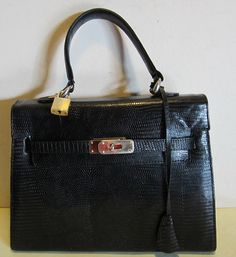 Vintage Louise Fontaine lizard skin leather Kelly bag, Brussels ...