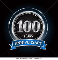 100 years anniversary logo with silver ring and blue ribbon, Vector design template elements for birthday celebration, wedding, greeting card, invitation, party.