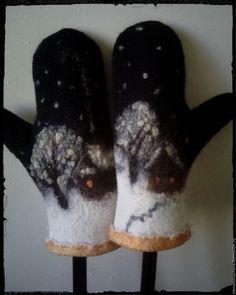 Купить Зимний домик - черный, рисунок, варежки ручной работы, варежки женские, варежки теплые