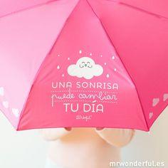 """Paraguas pequeño """"Una sonrisa puede cambiar tu día"""" #mrwonderfulshop #umbrella #paraguas #small"""
