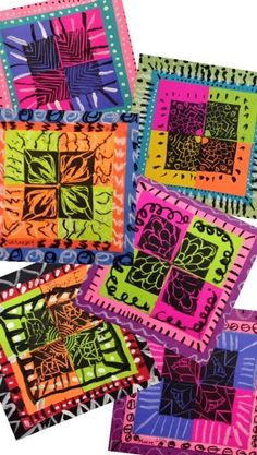 WEST MIDDLETON ART SMARTIES: Gr. 4: Rotation Prints  post it note type squares, double matte, add detail to mattes?